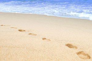 浜辺の足跡画像