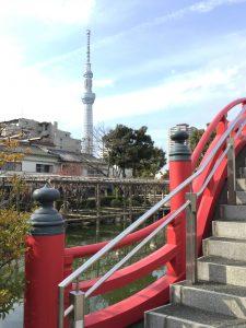 太鼓橋とスカイツリーの画像